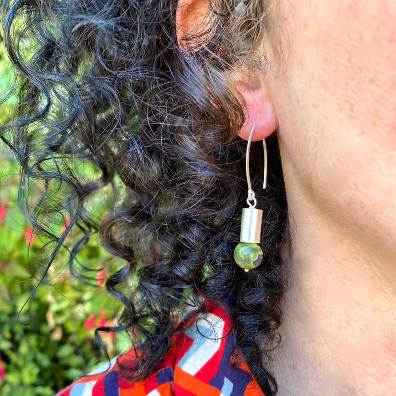 Stichtite and Serpentine Diode Earring