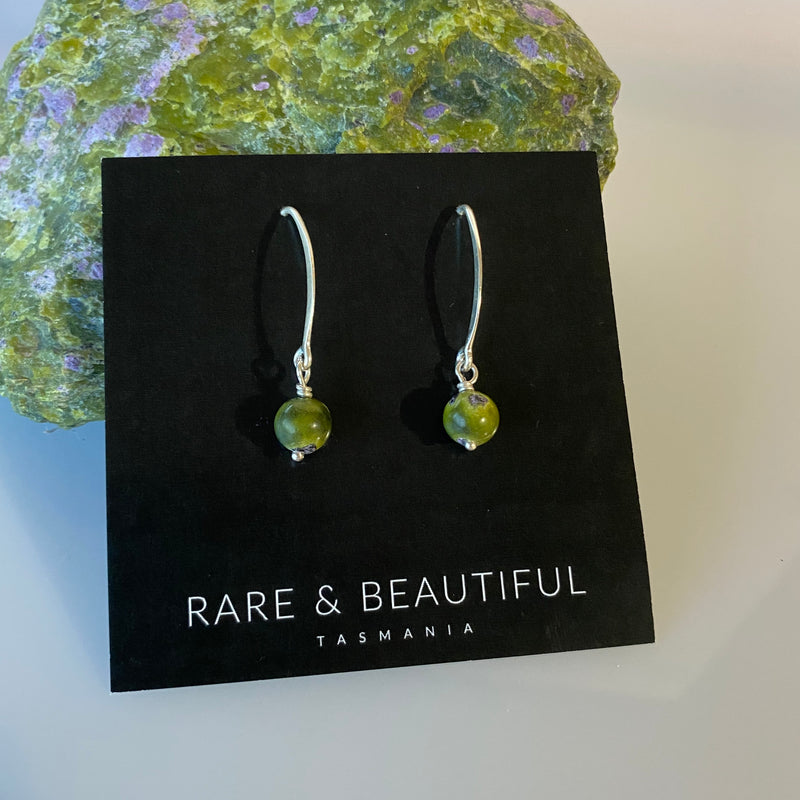 Stichtite and Serpentine Simple Drop Earring