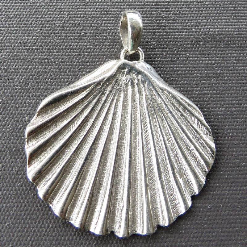 Handmade sterling silver pendant of a Tasmanian Scallop shell made by The Rare and Beautiful