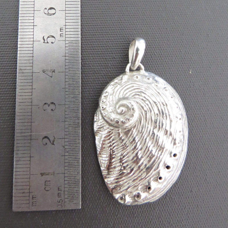 Handmade sterling silver pendant of a Tasmanian Abalone shell made by The Rare and Beautiful
