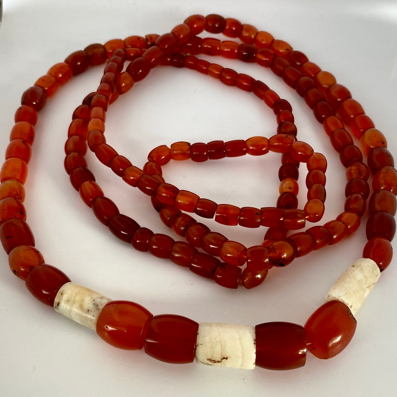 Antique Naga carnelian and conch shell necklace