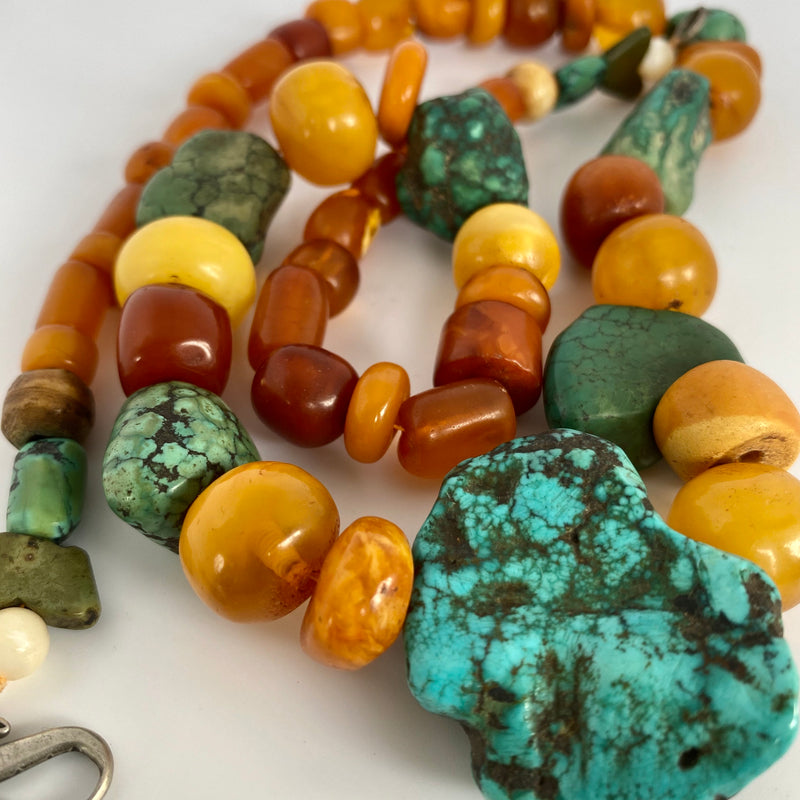 Antique Amber , Turquoise , bone and mother of Pearl necklace