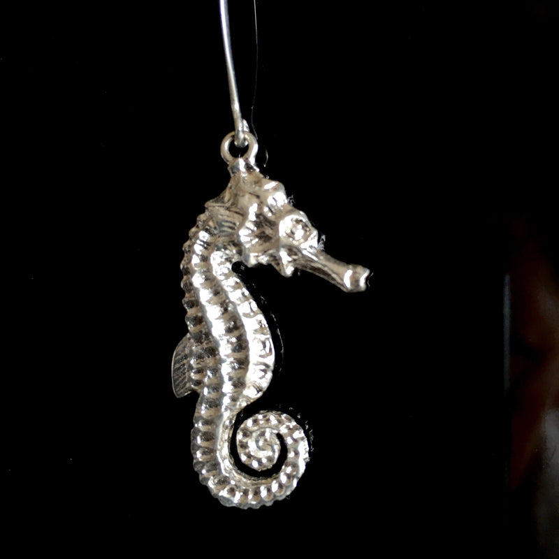 Silver baby seahorse earrings