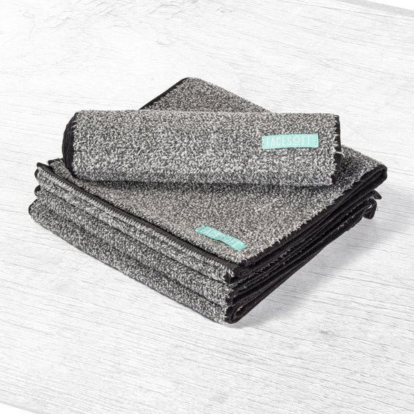 Detox Towels Infused with Charcoal Yarn Charcoal-Detox Towel Removes Toxins and Oils From Your Skin Biodegradable Hypoallergenic Antimicrobial