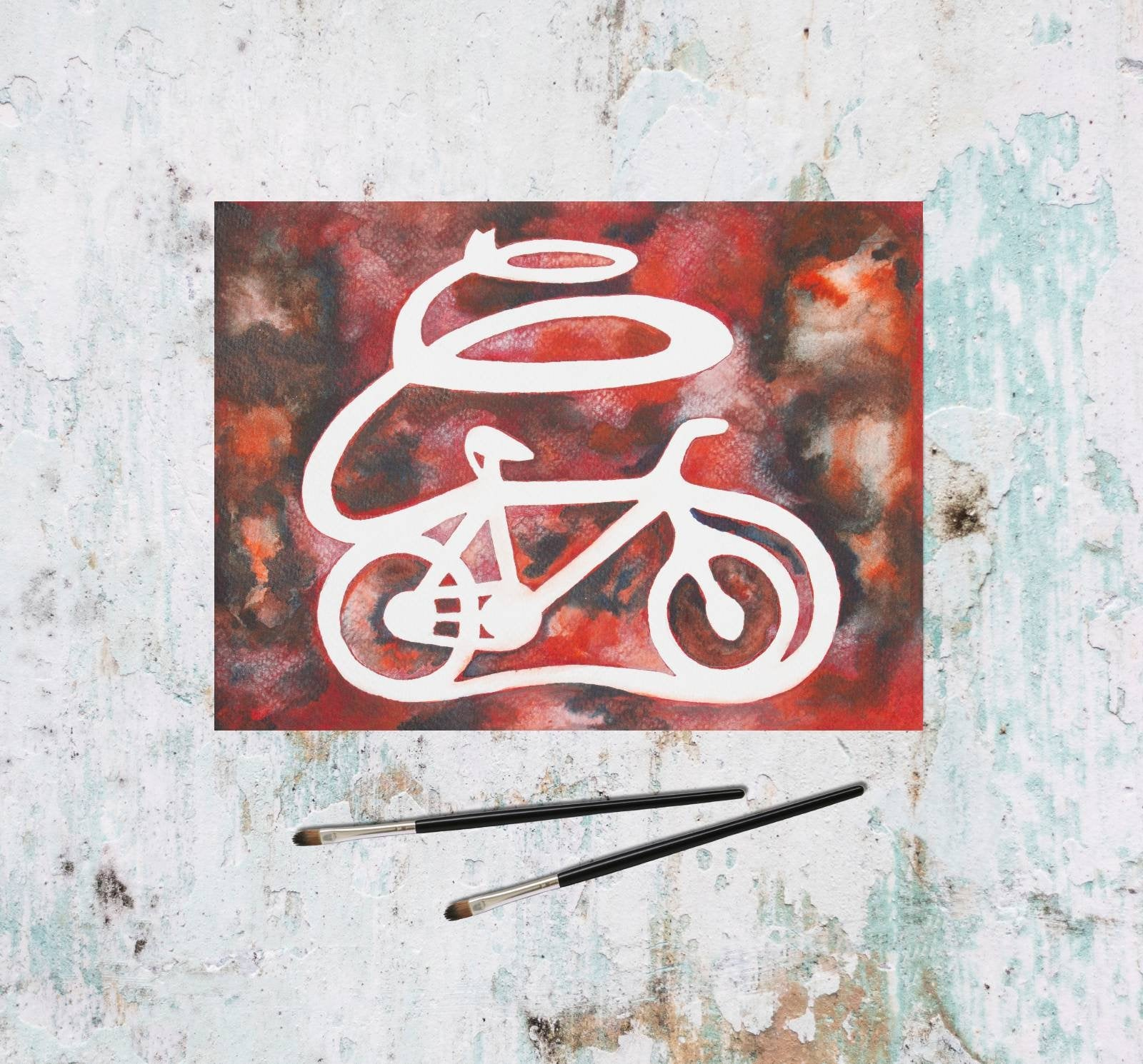 tomorrowspeople - Red Watercolor Bicycle Painting - Tomorrow's People - Painting