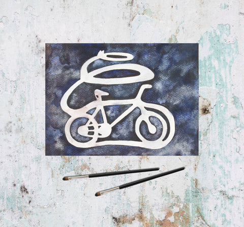 Purple watercolor bicycle painting-Painting-Tomorrow's People