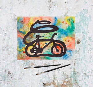 tomorrowspeople - Colorful Watercolor Bicycle Painting With Drops - Tomorrow's People - Painting