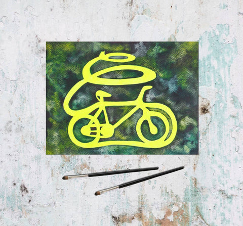 Yellow watercolor bicycle painting-Painting-Tomorrow's People