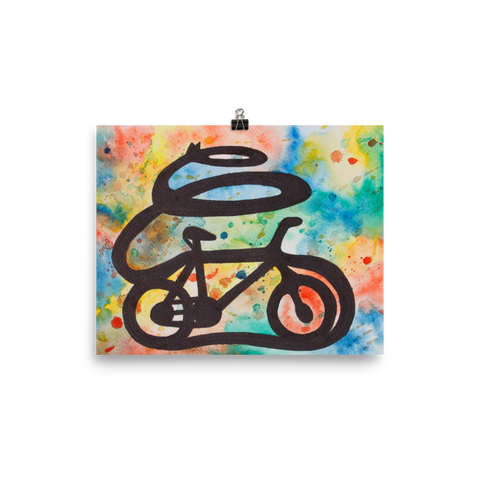 tomorrowspeople - Colorful Bicycle Art Print With Drops - Tomorrow's People - Print