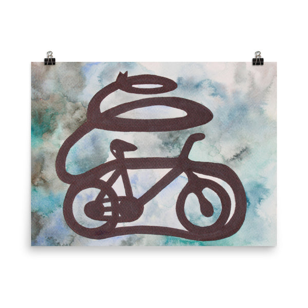 tomorrowspeople - Blue Green Bicycle Art Print - Tomorrow's People - Print