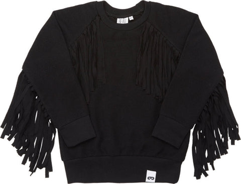Beau LOves Inky Black Fringe Jumper