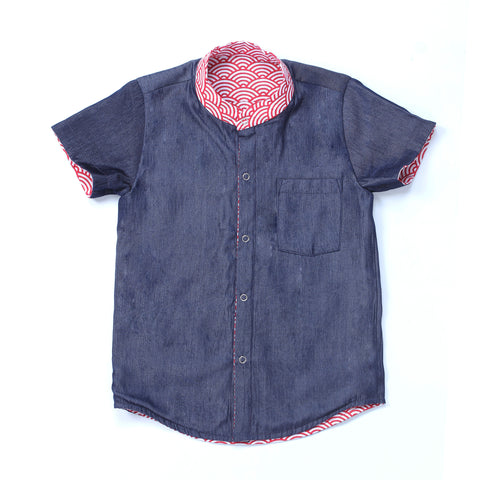 Oh My Scallop/Chambray Reversible Boys Shirt