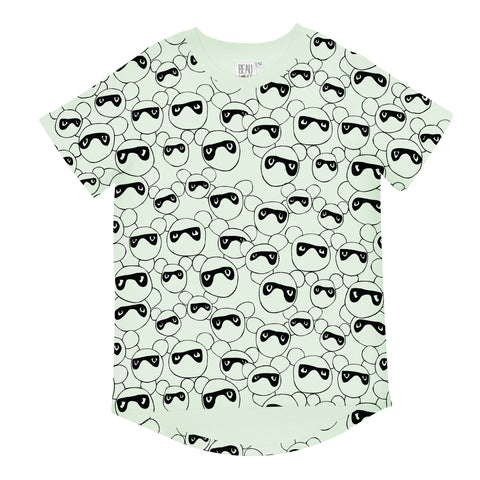 Beau LOves Short Sleeve fin T shirt, Pale Lime, Masked Bears
