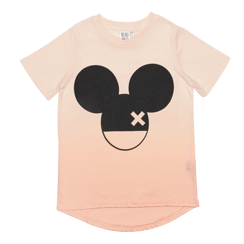 Beau LOves Short Sleeve fin T shirt, Pale Blush Ombre, Mouse X