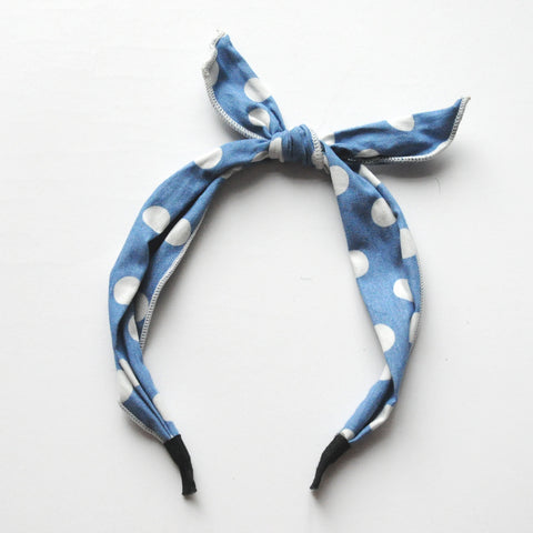Light Denim Polka Dot Hair Band