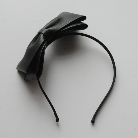 Faux Leather Bow Hair Band
