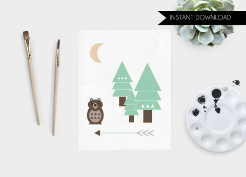 Bear and Trees Print Download