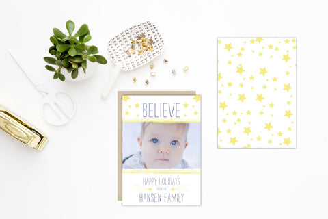 Believe in Stars Holiday Photo Card - Caroline Creates