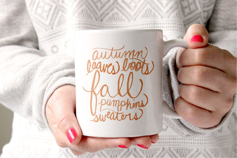 Fall Words Mug - Caroline Creates