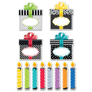 "BIRTHDAY PARTY, BOLD & BRIGHT 6"" DESIGNER CUT-OUTS"