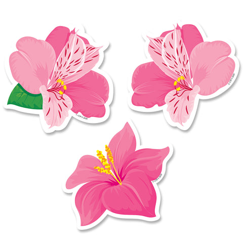 "Palm Paradise Pink Blooms 3"" Designer Cut-Outs"