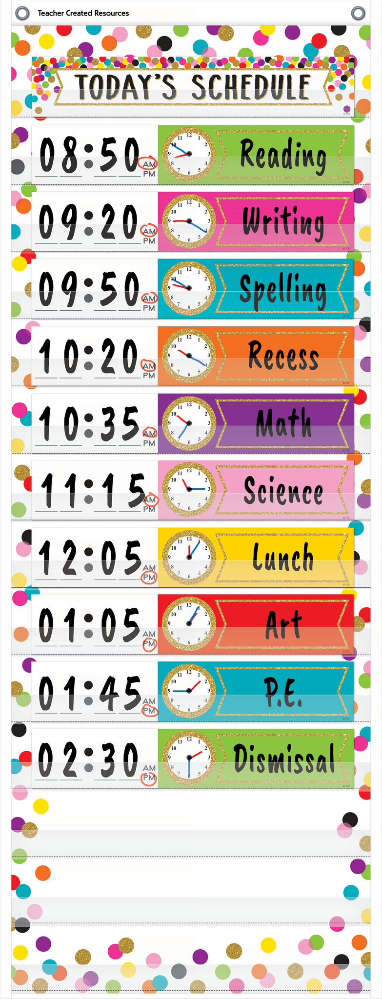 "Confetti 14 Pocket Daily Schedule Pocket Chart (13"" x 34"")"