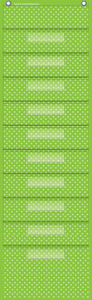 "Lime Polka Dots 10 Pocket File Storage Pocket Chart (14"" x 58"")"