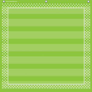 "Lime Polka Dots 7 Pocket Chart (28"" x 28"")"