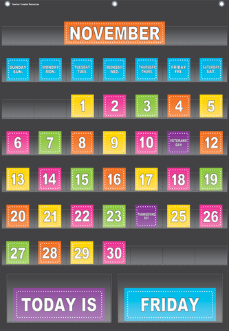 "Black Calendar Pocket Chart (25"" x 36"")"