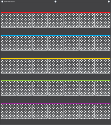 "Black Polka Dots Storage Pocket Chart (32.5"" x 36.5"")"