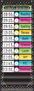 "Chalkboard Brights 14 Pocket Daily Schedule Pocket Chart (13"" x 34"")"