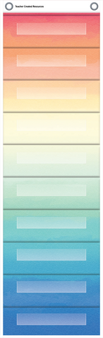 "Watercolor 10 Pocket File Storage Pocket Chart (14"" x 58"")"