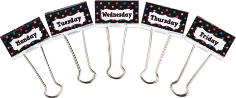 Chalkboard Brights Days of the Week Large Binder Clips