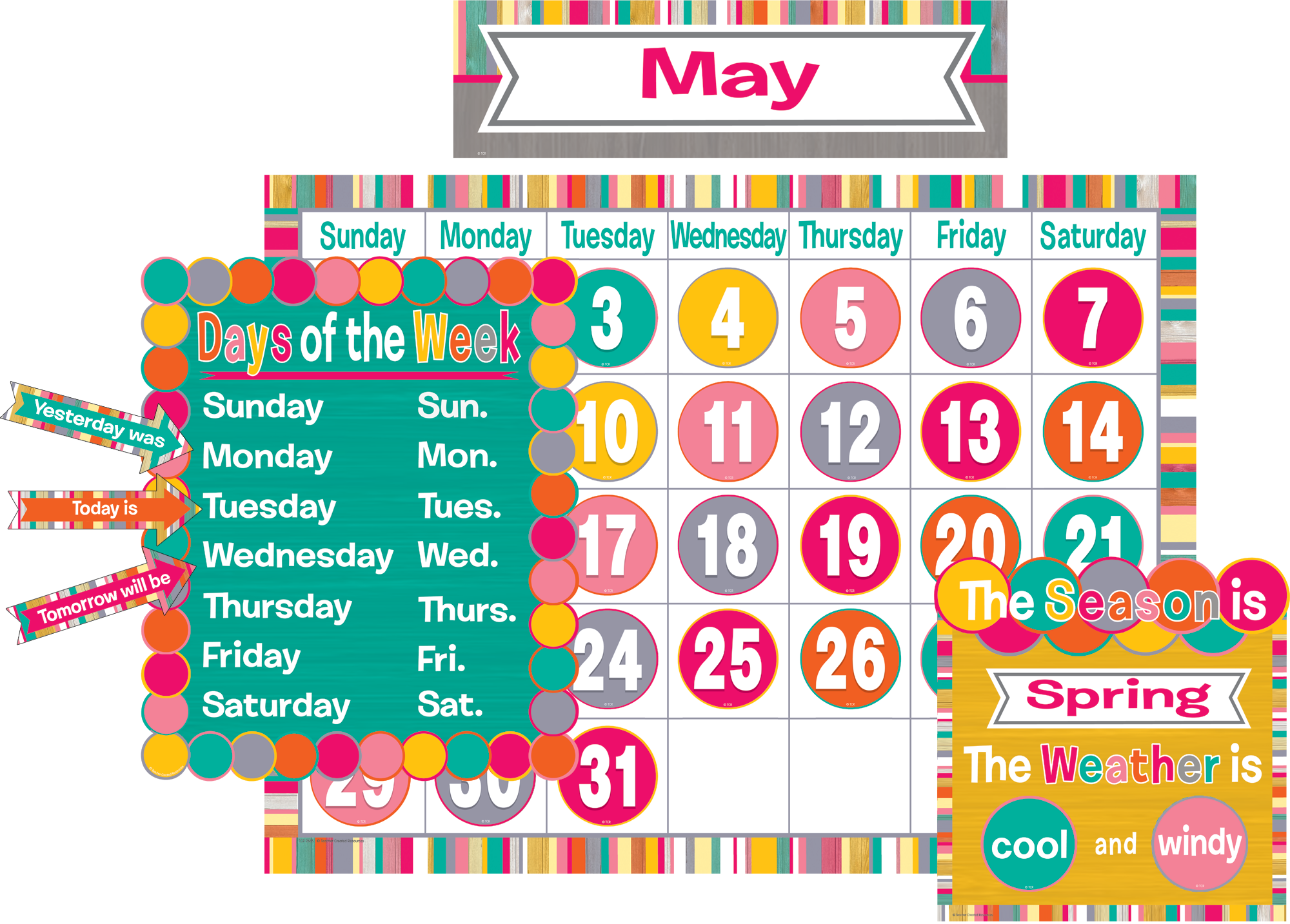 Tropical Punch Calendar Bulletin Board