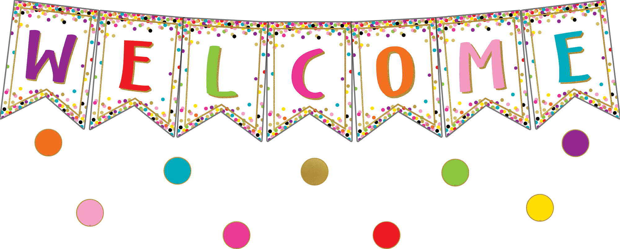 Confetti Pennants Welcome Bulletin Board