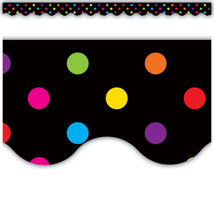 Multicolor Dots on Black Scalloped Border Trim