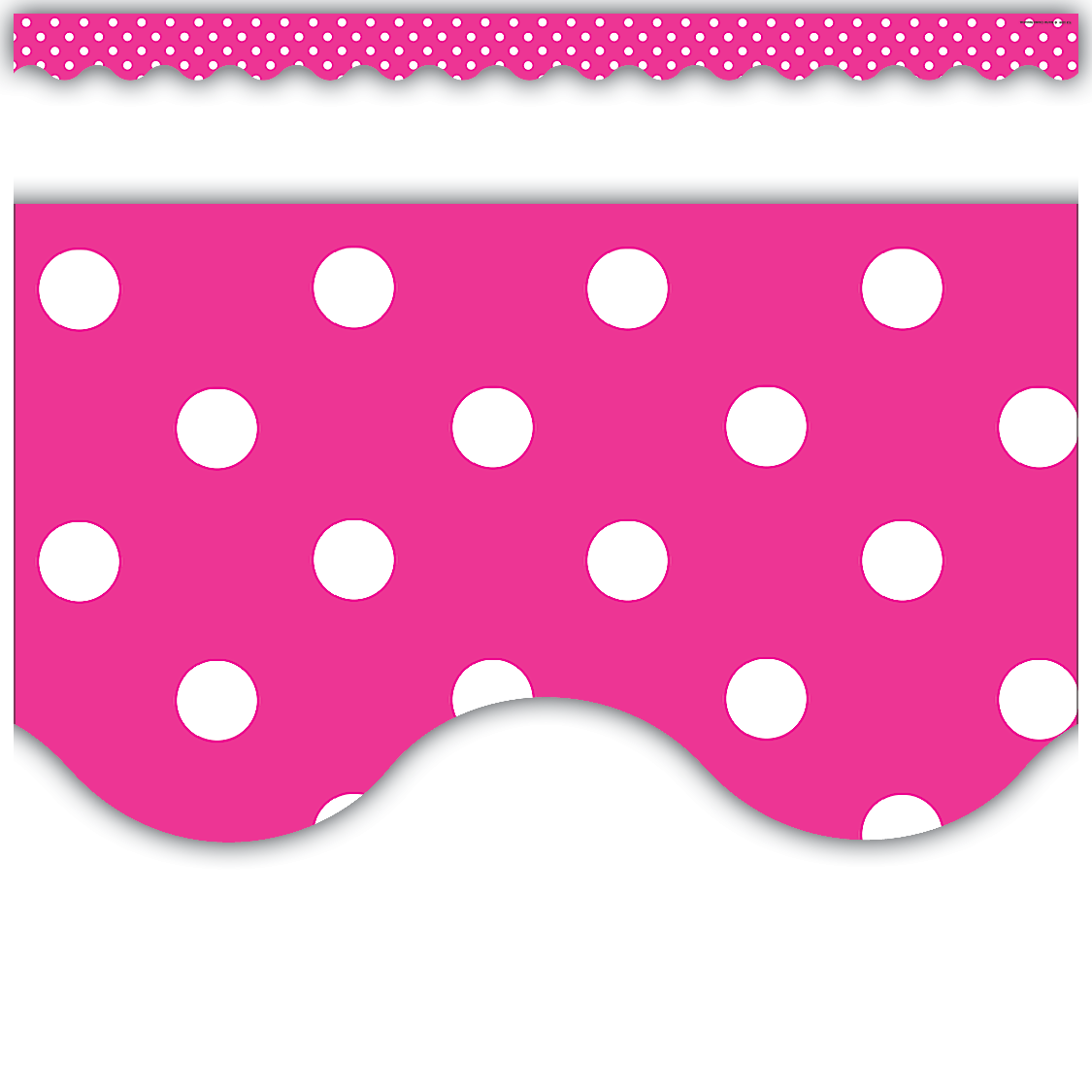 Hot Pink Polka Dots Scalloped Border Trim