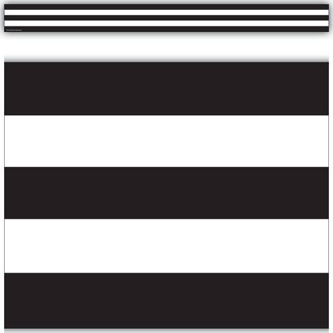 Black & White Stripes Straight Border Trim