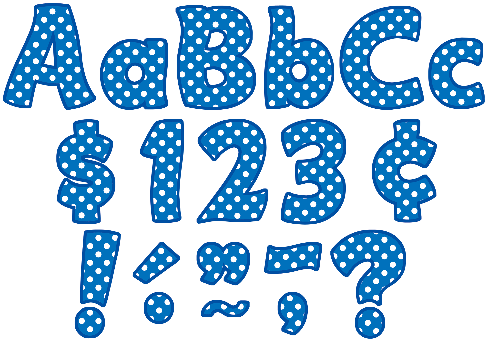 "Blue Polka Dots Funtastic 4"" Letters Combo Pack"