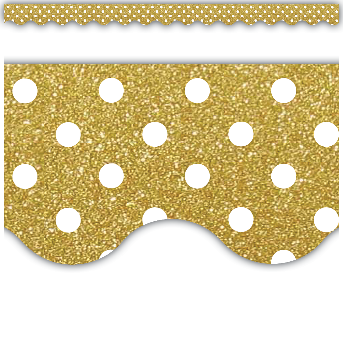 Gold Shimmer Polka Dot Scalloped Border Trim