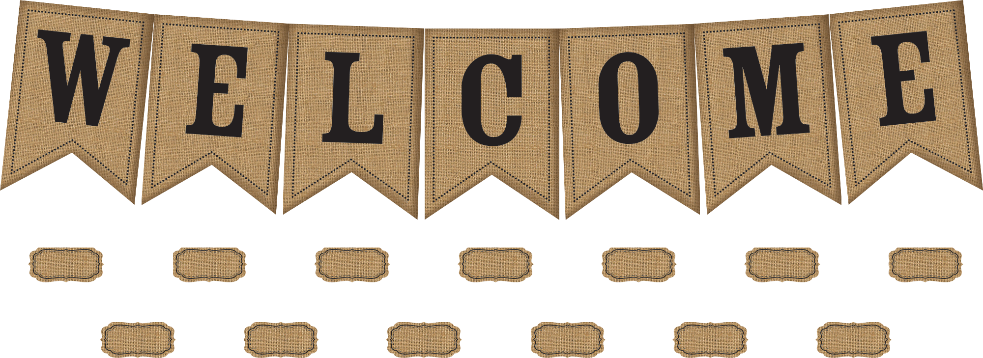 Burlap Pennants Welcome Bulletin Board