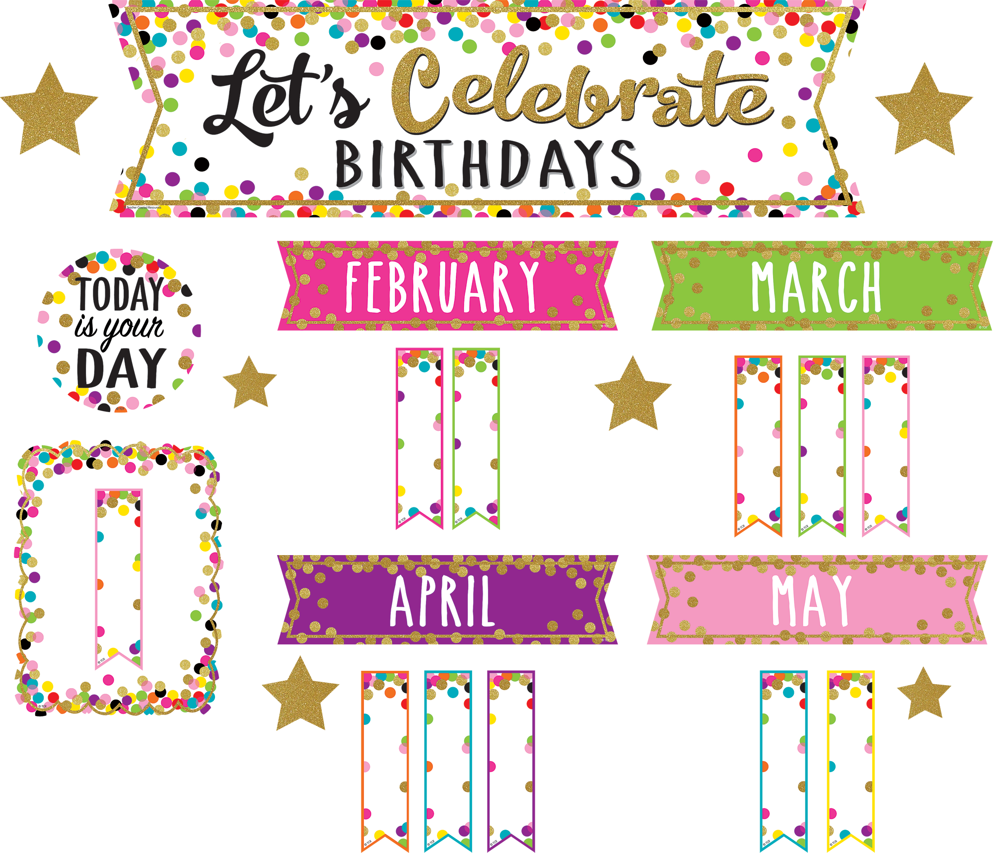 Confetti LetÍs Celebrate Birthdays Mini Bulletin Board