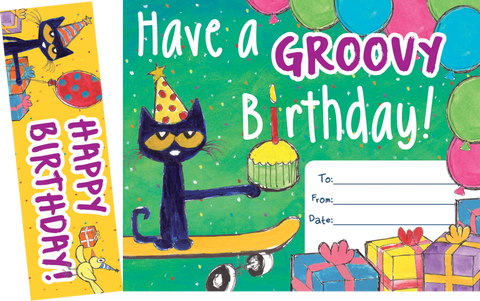 Pete the Cat¬ Groovy Birthday Bookmark Awards