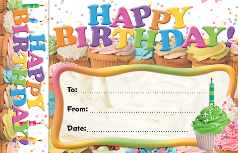 Happy Birthday Cupcakes Bookmark Awards