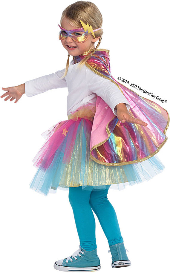 Super Duper Tutu with Cape & Mask Rainbow pastel color - size 4-6