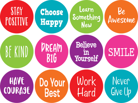 Spot On¬ Positive Sayings Carpet Markers - 4""