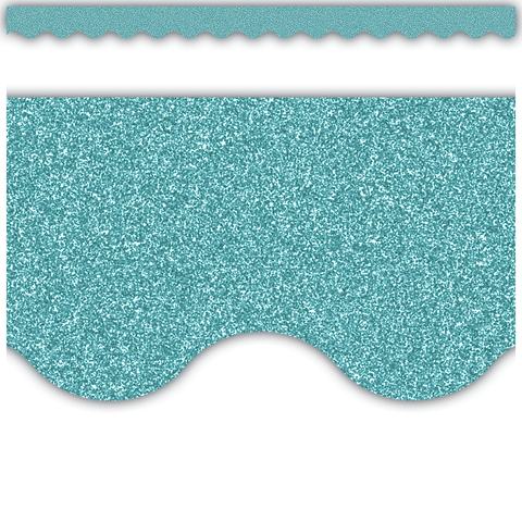 Ice Blue Glitz Scalloped Border Trim