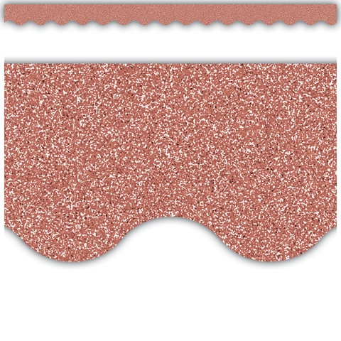 Rose Gold Glitz Scalloped Border Trim