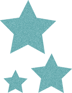 Ice Blue Glitz Stars Accents - Assorted Sizes