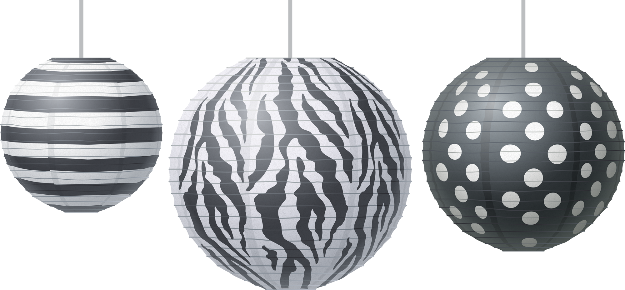 Big, Bold Black & White Paper Lanterns